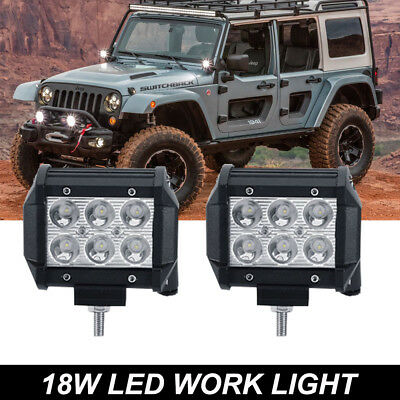 2X 4INCH LED Work Light Bar Spot Fog Lights Offroad UTE Truck Back Reverse Pods