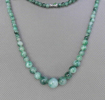 Chinese Handmade Fine Jade Carved Natural Texture Glossy Beads Necklace Ornament