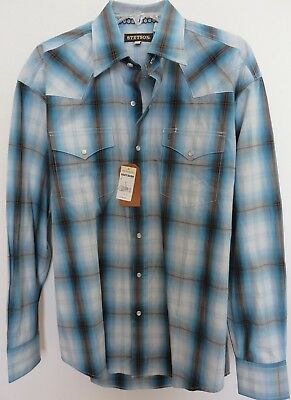 Stetson Men's Plaid Western Shirt/M/ New with Tags/Pearl, Snap Buttons