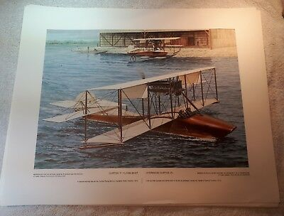 "Vintage Aviation Art R.W. Bradford Curtiss ""F"" Flying Boat At Hanlans Pt 16""x20"""