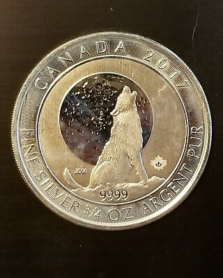 2017 Canadian Wolf Series Wolf Moon 3/4 oz .9999 Limited Silver Bullion Coin