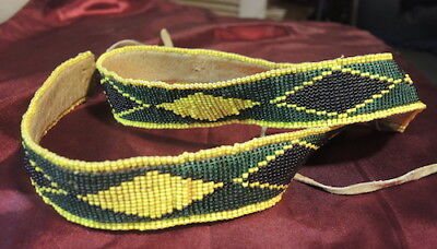 Antique Vintage Native American Indian Fine Tight Beaded Belt , Thick & Heavy
