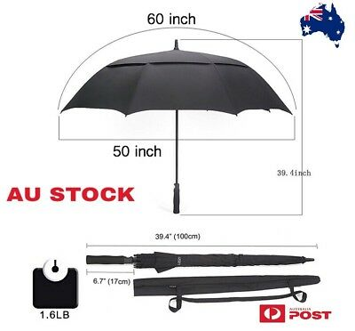 60 Inch Automatic Open Golf Umbrella Extra Large  Double Canopy Vented Windproof