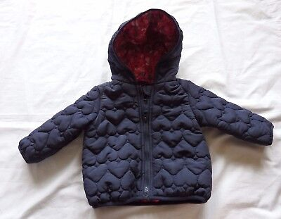 Baby Girls size 00  3 -6 months Navy blue quilted hearts padded  jacket coat NEW