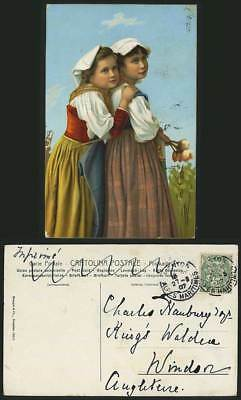 Little Girls - Traditional Costumes Ethnic Old Postcard