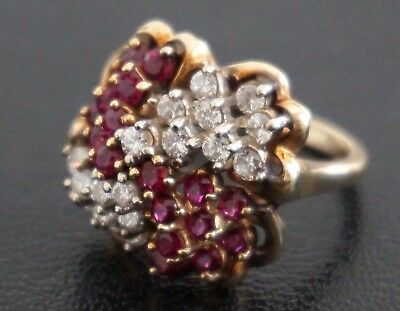 Superb Antique European Diamond & Ruby Cluster Ring from the 1940s