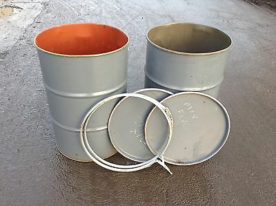 2 x 45 gallon STEEL DRUMS for Incinerator/Storage/Oil/Animal feed CLEAN & DRY!