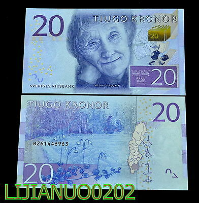 Sweden Schweden 20 Kronor 2015 P-69 UNC BANKNOTE CURRENCY EUROPEAN