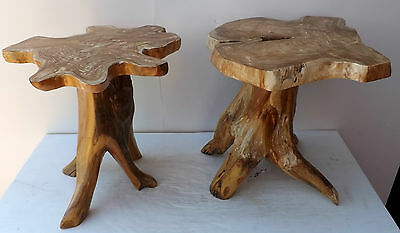 Stool in root briar of teak solid wood chair cm 46h 40x40 seat 30 tree