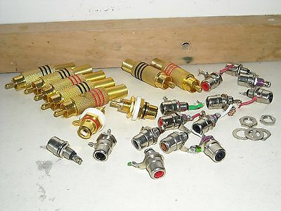 job lot of budget used rca phono connectors cinch plugs and chassis sockets