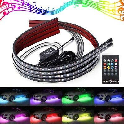AMBOTHER 4Pcs RGB LED Car Underglow Kit Underbody System Neon Lights Atmosphere