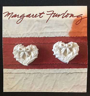 Heart With Bow Earrings 1988 Carriage House Studios By Margaret Furlong