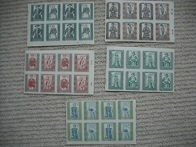 1959 POLAND 4X PROVINCIAL COSTUMES sets as IMPERF part sheets, SG1132-1141 MNH