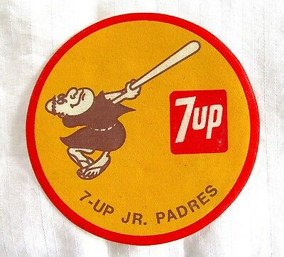 """7-UP Jr. Padres Iron-On Patch - Unused - 3.5"""" - San Diego Padres - 1970s?"""