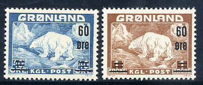 GREENLAND 1956 60 Øre surcharges on Polar Bear MNH / **