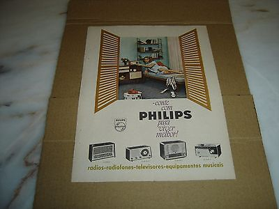"""1961 vintage portuguese advertising PHILIPS Radios """"To live better"""" werbung"""