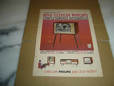 """1961 vintage portuguese advertising PHILIPS Automatic televisions 23"""" werbung"""