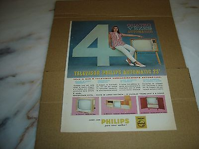 """1963 vintage portuguese advertising PHILIPS Automatic Television 23"""" werbung"""