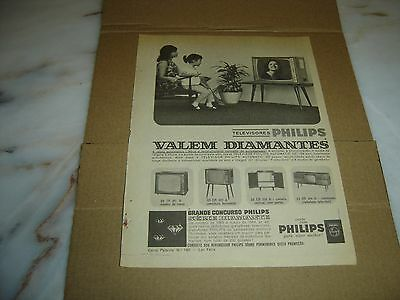 """1963 old portuguese advertising PHILIPS Televisions """"They are worth diamonds"""""""
