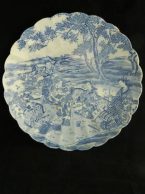"Antique Japanese Edo blue and white pottery 12"" charger / plate"