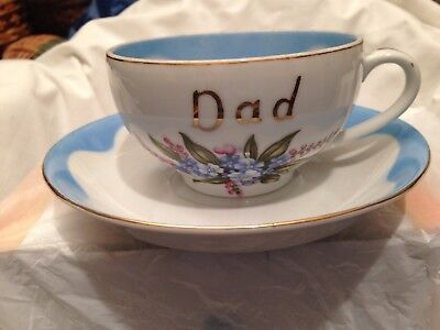 Vintage Lefton DAD Cup and Saucer - Hand Painted