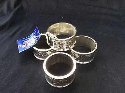 Set of Four Queen Anne Tarnish Resistant Silver Plated Napkin / Serviette Rings
