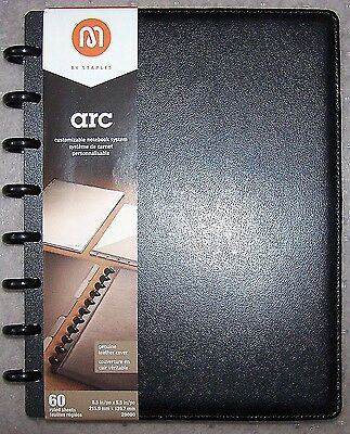 "Staples arc Black Leather Customizable Notebook System - 8.5""x5.5"" -60 Pages-New"