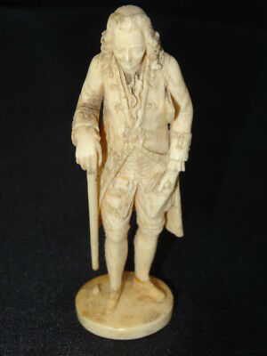 Antique Bovine Bone Japanese English Gentleman with Scroll in Pocket Figure