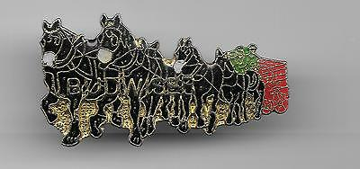 Vintage  Clydesdale Horses BUDWEISER Train with Wagon old enamel pin