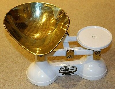 'The Viking' cast iron kitchen scales, white with brass bowl, without weights