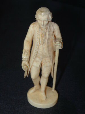 Antique Bovine Bone Japanese English Gentleman with Scroll in Hand Figure