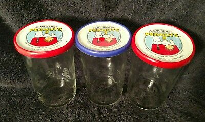 Vintage Smuckers (3) Embossed Peanuts Glass Jelly Jars 1965 With Lids
