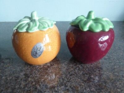 Vintage - SylvaC - Preserve Pots / Strawberry & Orange