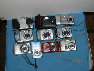 Lot-of 10 -Assorted-Digital-Cameras-As-Is-Untested-LOT. (ALSO 19 CAMERA CORDS)