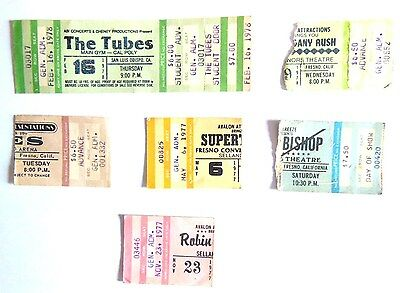 YES Ticket 1977  Fresno Selland Arena and 5 others ( Robin Trower The Tubes ...)