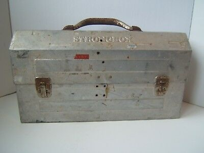 Vintage Strongbox Metal Lunch Box Beat Up Distressed Miner Construction Lunchbox
