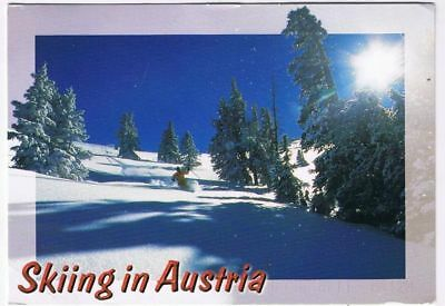 Austria Postcard Skiing Hillside Snow Trees