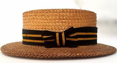 Antique Straw School Boater THE YORK HAT Original Yellow & Black Ribbon Large 7+