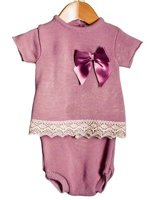 Spanish Style Baby Girl Knitted 2 Piece Top & Jam Pants Set - Dusky Pink