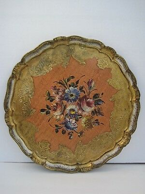 Vintage Florentine Round Wooden Tole Tray Ornate with Flower Bouquet Marked  15""