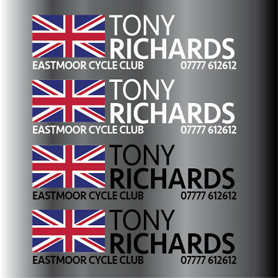 16 x Personalised Golf Club Decal Labels 40x10mm Any Flag & Name - Any Colour