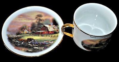 2003 THOMAS KINKADE Porcelain Cup & Saucer Sunset At Riverbend Farm Teleflora