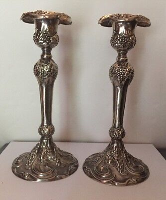 Vintage Godinger Silver Plated Set Of 2 Candle Holders.