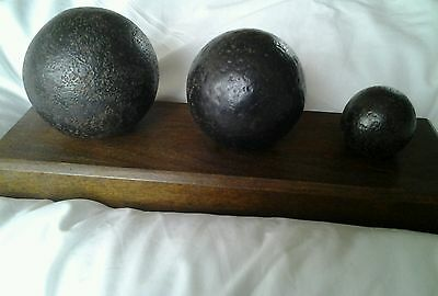 Display of 3 Cannon Balls - different sizes & weights on wood plinth