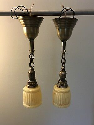 "Early Brass Pendant Light Fixtures With Rare Fitters 17"" Long 25C"