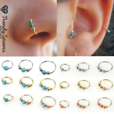 1x Surgical Steel Plated Nose Ring Turquoise Helix Stud Earring Piercing