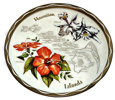 Vintage Hawaiian Islands Round Tin Tray w. Map & Hibiscus Orchid Flowers EUC