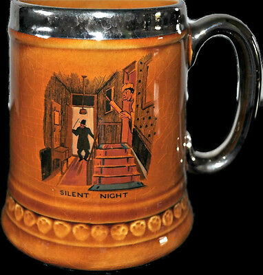 Vintage 1971 Lord Nelson Pottery Beer Mug Silent Night 20oz Ceramic Cup England