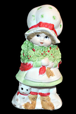Vintage 1978 JASCO Bisque Porcelain Figurine Christmas Girl w. Cat Hand Painted
