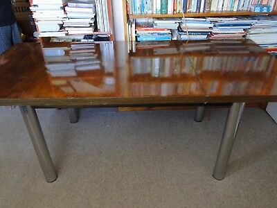 HEAL's of London 1970s Wood & Stainless Steel Extendable Dining/Board Room Table
